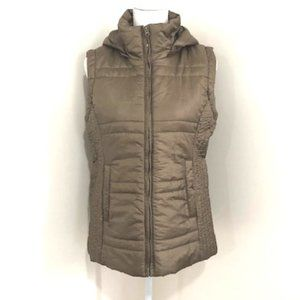 New York & Company Brown Vest w/ Removable Hood